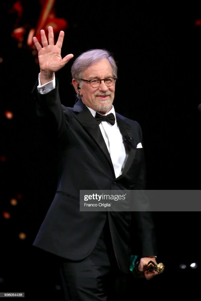 Steven Spielberg receives the Life Achievement Award 2018 during the 62nd David Di Donatello awards ceremony on March 21, 2018 in Rome, Italy.
