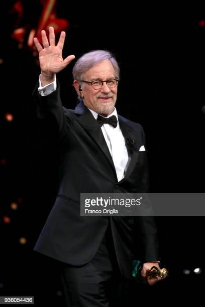 Steven Spielberg receives the Life Achievement Award 2018 during the 62nd David Di Donatello awards ceremony on March 21 2018 in Rome Italy