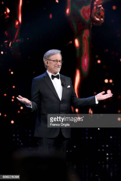 Steven Spielberg receives the Lifetime Achievement Award during the 62nd David Di Donatello awards ceremony on March 21 2018 in Rome Italy