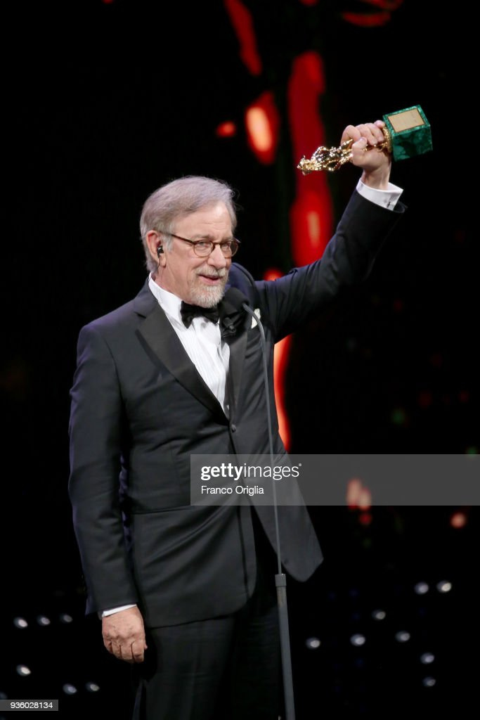 Steven Spielberg receives the Lifetime Achievement Award during the 62nd David Di Donatello awards ceremony on March 21, 2018 in Rome, Italy.