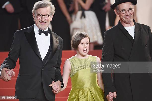 Steven Spielberg Ruby Barnhill and Mark Rylance attend The BFG premiere during the 69th annual Cannes Film Festival at the Palais des Festivals on...