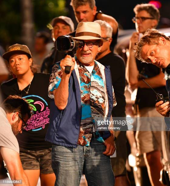 Steven Spielberg seen on location for 'West Side Story' in Washington Heights on August 4 2019 in New York City