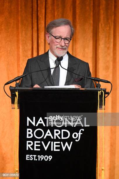 Steven Spielberg speaks at the National Board of Review Annual Awards Gala at Cipriani 42nd Street on January 9 2018 in New York City