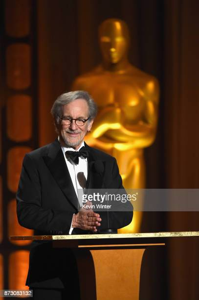 Steven Spielberg speaks onstage at the Academy of Motion Picture Arts and Sciences' 9th Annual Governors Awards at The Ray Dolby Ballroom at...