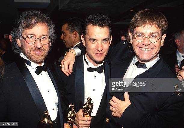 Steven Spielberg Tom Hanks and Elton John during 65th Annual Academy Awards Elton John AIDS Foundation Party in Los Angeles CA