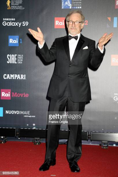 Steven Spielberg walks a red carpet ahead of the 62nd David Di Donatello awards ceremony on March 21 2018 in Rome Italy