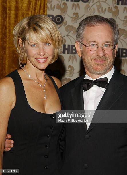 Steven Spielberg wife Kate Capshaw during 54th Annual Primetime Emmy Awards HBO AfterParty at Spago at Spago Restaurant in Beverly Hills California...