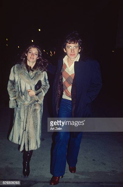 Steven Spielberg with his wife Amy Irving she is wearing a fur coat circa 1970 New York