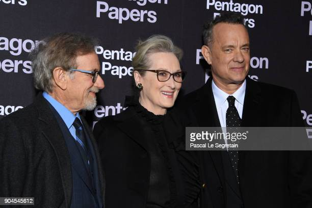 Steven SpielbergMeryl Streep and Tom Hanks attend 'Pentagon Papers' Premiere at Cinema UGC Normandie on January 13 2018 in Paris France