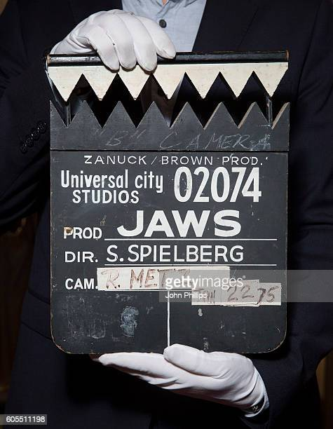 Steven Spielberg's Clapperboard from Jaws estimated at £30k£40k goes on display ahead of the Prop Store Rare Film and TV Memorabilia auction at BFI...