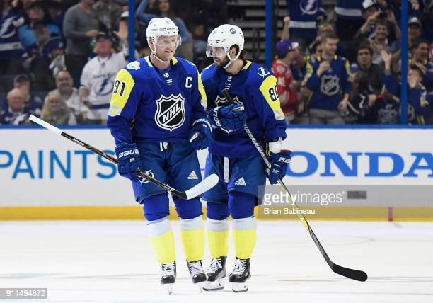 Steven Stamkos and Nikita Kucherov of the Tampa Bay Lightning celebrate during the 2018 Honda NHL AllStar Game between the Atlantic Division and the...