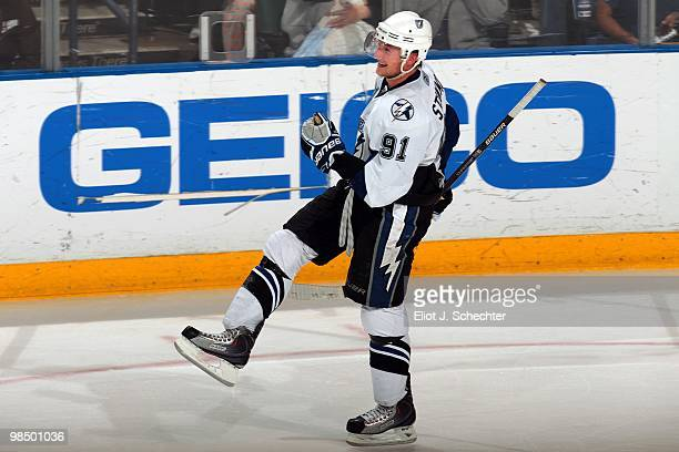 Steven Stamkos of of the Tampa Bay Lightning tied Sidney Crosby for the NHL league lead in goals at 51 to share the Richard Trophy in the game...
