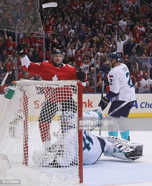 Steven Stamkos of Team Canada celebrates his goal at 1320 of the first period against Jaroslav Halak of Team Europe during Game One of the World Cup...