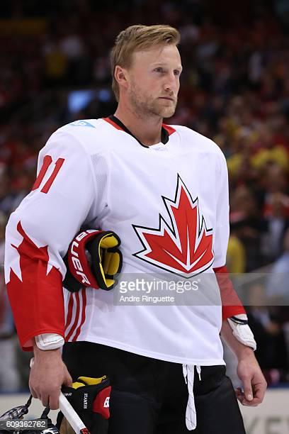 Steven Stamkos of Team Canada lines up prior to the game against Team USA during the World Cup of Hockey 2016 at Air Canada Centre on September 20...