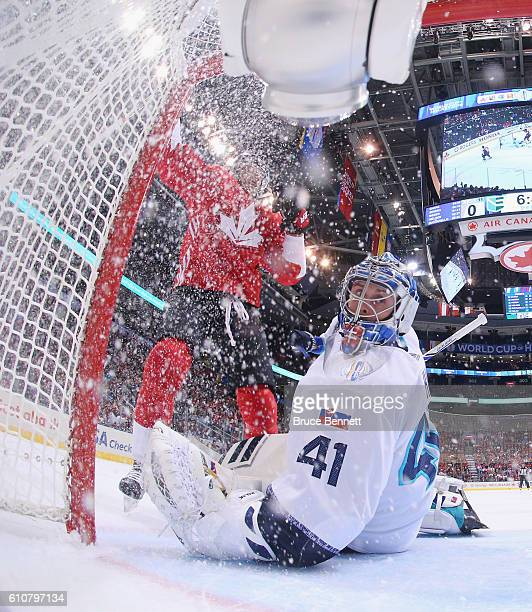 Steven Stamkos of Team Canada scores a first period goal against Jaroslav Halak of Team Europe during Game One of the World Cup of Hockey final...