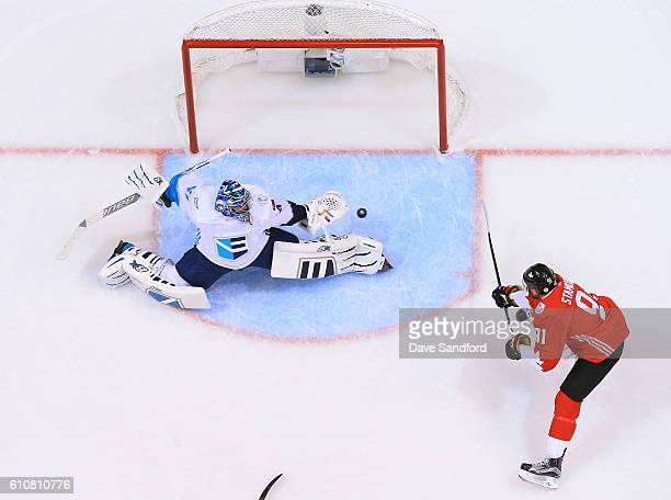 Steven Stamkos of Team Canada scores the game winning goal against Jaroslav Halak of Team Europeduring Game One of the World Cup of Hockey 2016 final...