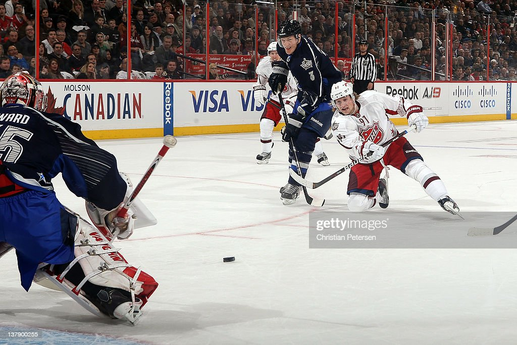 Steven Stamkos #91 of the Tampa Bay Lightning and Team Alfredsson draws a penalty by Dion Phaneuf #3 of the Toronto Maple Leafs in the first period during the 2012 Tim Hortons NHL All-Star Game at Scotiabank Place on January 29, 2012 in Ottawa, Ontario, Canada.