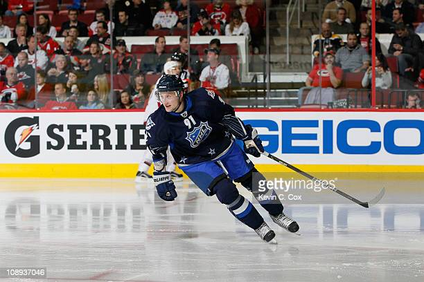 Steven Stamkos of the Tampa Bay Lightning and Team Lidstrom plays against Team Staal in the 58th NHL AllStar Game at RBC Center on January 30 2011 in...