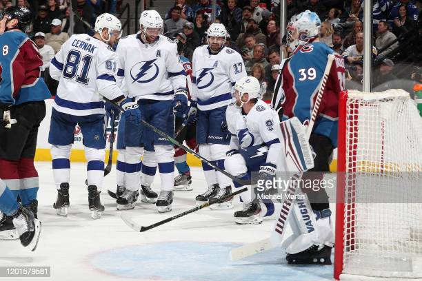 Steven Stamkos of the Tampa Bay Lightning celebrates a goal against the Colorado Avalanche with teammates Erik Cernak Victor Hedman and Alex Killorn...
