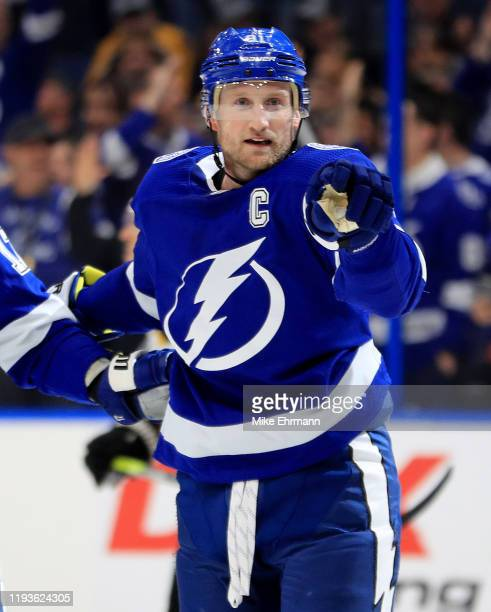 Steven Stamkos of the Tampa Bay Lightning celebrates a goal during a game against the Boston Bruins at Amalie Arena on December 12 2019 in Tampa...