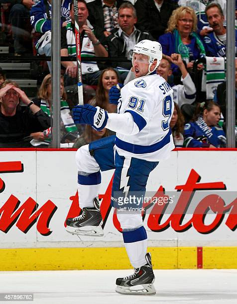 Steven Stamkos of the Tampa Bay Lightning celebrates a goal during their NHL game against theVancouver Canucks at Rogers Arena October 18 2014 in...