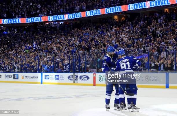 Steven Stamkos of the Tampa Bay Lightning celebrates a goal during Game Two of the Eastern Conference First Round against the New Jersey Devils...