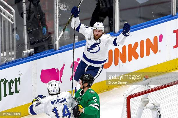 Steven Stamkos of the Tampa Bay Lightning celebrates after scoring a goal against the Dallas Stars during the first period in Game Three of the 2020...