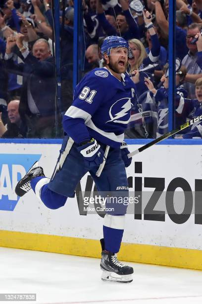 Steven Stamkos of the Tampa Bay Lightning celebrates after scoring a goal against the New York Islanders during the first period in Game Five of the...