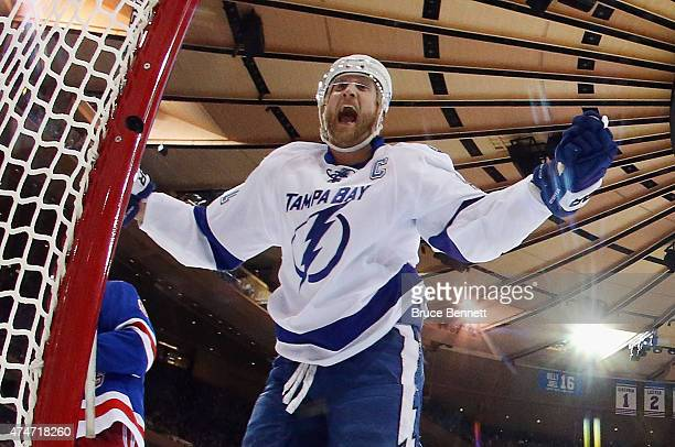 Steven Stamkos of the Tampa Bay Lightning celebrates after scoring a goal against Henrik Lundqvist of the New York Rangers during the second period...