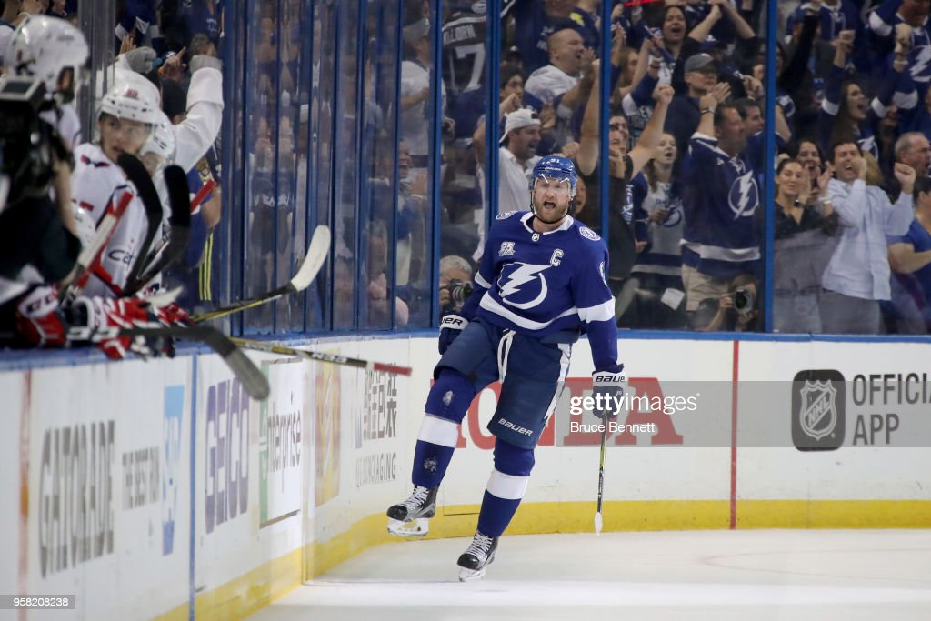 Steven Stamkos #91 of the Tampa Bay Lightning celebrates after scoring a goal on Braden Holtby #70 of the Washington Capitals during the first period in Game Two of the Eastern Conference Finals during the 2018 NHL Stanley Cup Playoffs at Amalie Arena on May 13, 2018 in Tampa, Florida.