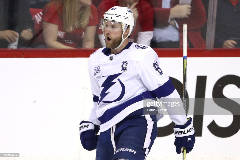Steven Stamkos #91 of the Tampa Bay Lightning celebrates after scoring a goal against Braden Holtby #70 of the Washington Capitals during the first period in Game Three of the Eastern Conference Finals during the 2018 NHL Stanley Cup Playoffs at Capital One Arena on May 15, 2018 in Washington, DC.