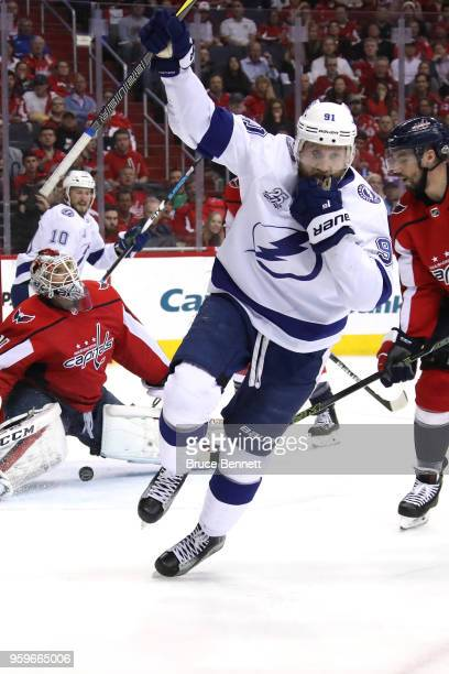 Steven Stamkos of the Tampa Bay Lightning celebrates after scoring a goal on Braden Holtby of the Washington Capitals during the first period in Game...