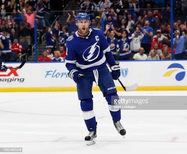 Steven Stamkos of the Tampa Bay Lightning celebrates his first goal of the season against the Detroit Red Wings during the second period at Amalie...