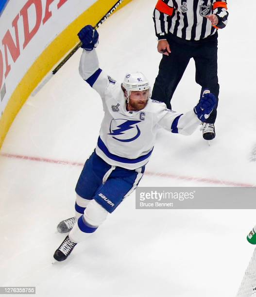 Steven Stamkos of the Tampa Bay Lightning celebrates his first period goal against the Dallas Stars in Game Three of the 2020 NHL Stanley Cup Final...