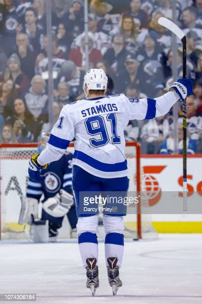 Steven Stamkos of the Tampa Bay Lightning celebrates his second period goal against the Winnipeg Jets at the Bell MTS Place on December 16 2018 in...