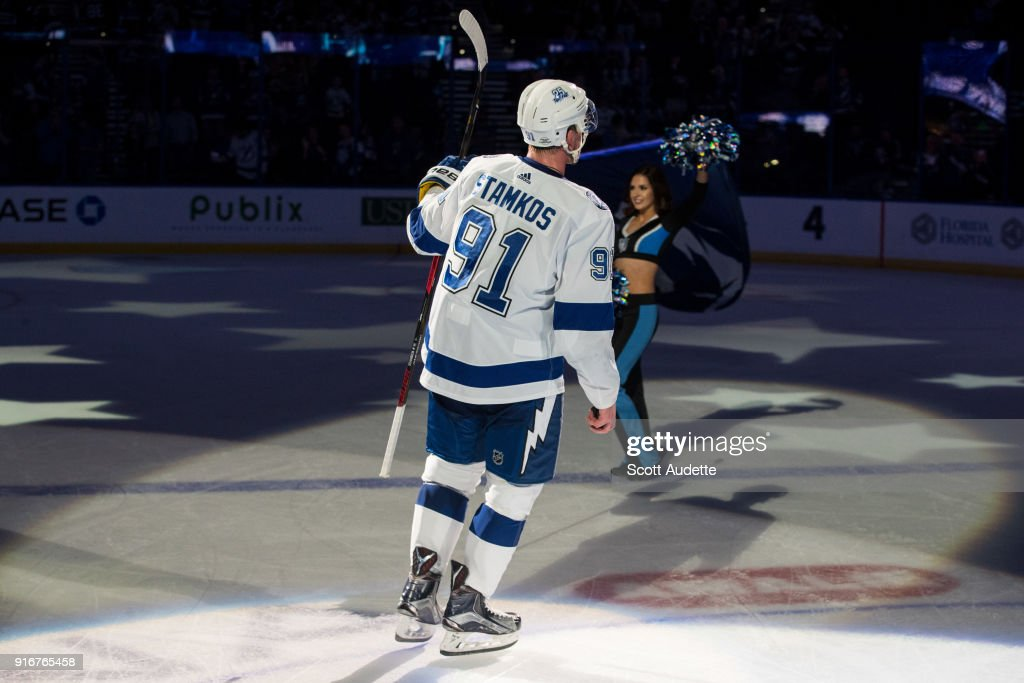 Steven Stamkos #91 of the Tampa Bay Lightning celebrates the win against the Los Angeles Kings at Amalie Arena on February 10, 2018 in Tampa, Florida.