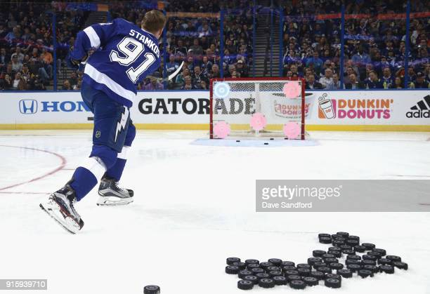 Steven Stamkos of the Tampa Bay Lightning competes in the Honda NHL Accuracy Shooting during 2018 GEICO NHL AllStar Skills Competition at Amalie...