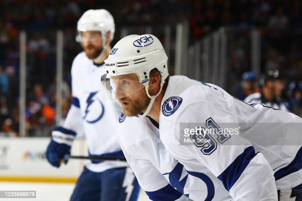 Steven Stamkos of the Tampa Bay Lightning in action against the New York Islanders in Game Six of the Stanley Cup Semifinals of the 2021 Stanley Cup...