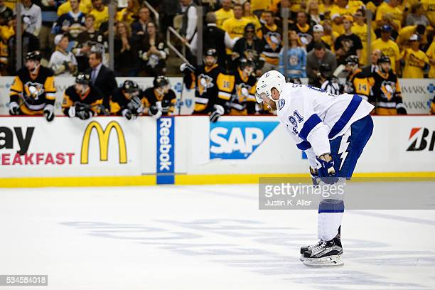 Steven Stamkos of the Tampa Bay Lightning looks on against the Pittsburgh Penguins during the third period in Game Seven of the Eastern Conference...