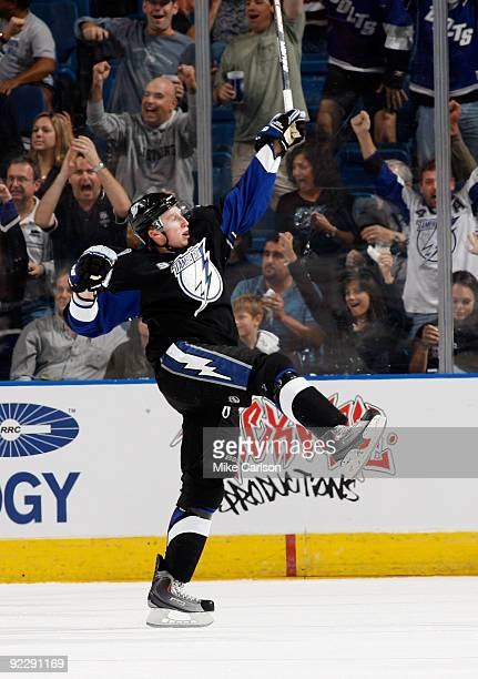 Steven Stamkos of the Tampa Bay Lightning reacts after scoring a goal against the San Jose Sharks at the St Pete Times Forum on October 22 2009 in...