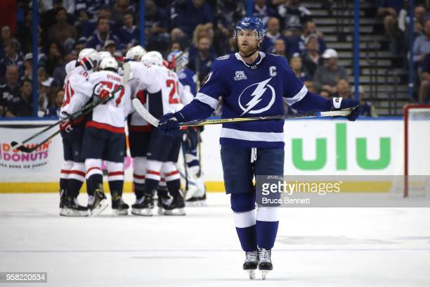 of the Tampa Bay Lightning against the Washington Capitals during Game Two of the Eastern Conference Final during the 2018 NHL Stanley Cup Playoffs...