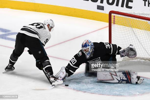 Steven Stamkos of the Tampa Bay Lightning scores a goal on Henrik Lundqvist of the New York Rangers during the 2019 Honda NHL AllStar Game at SAP...