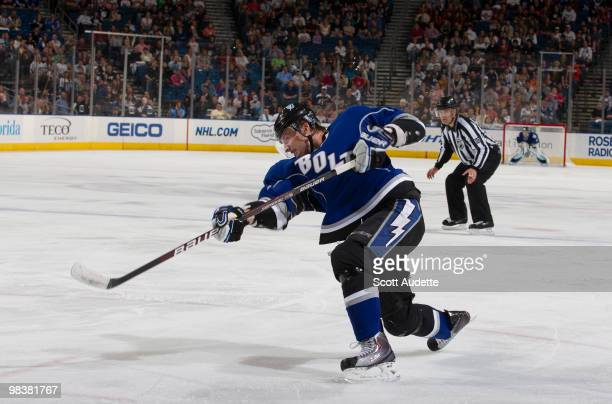 Steven Stamkos of the Tampa Bay Lightning scores his 49th goal of the season in the first period against the Florida Panthers at the St Pete Times...