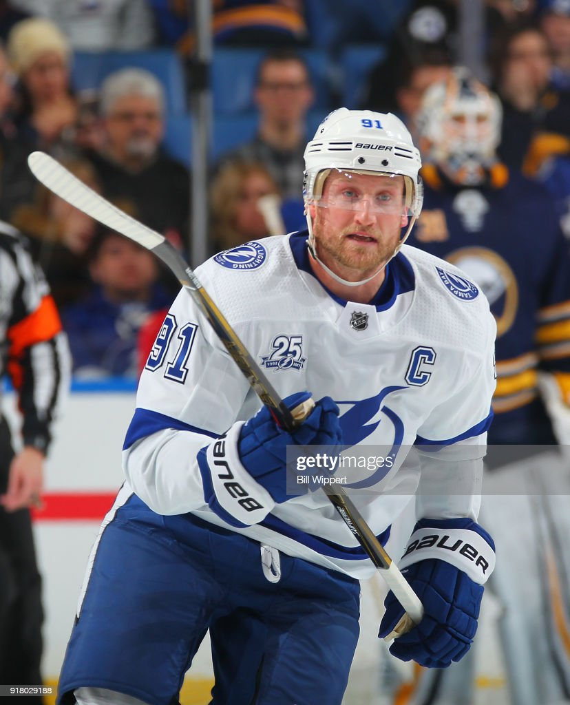 Steven Stamkos #91 of the Tampa Bay Lightning skates against the Buffalo Sabres during an NHL game on February 13, 2018 at KeyBank Center in Buffalo, New York. Buffalo won, 5-3.