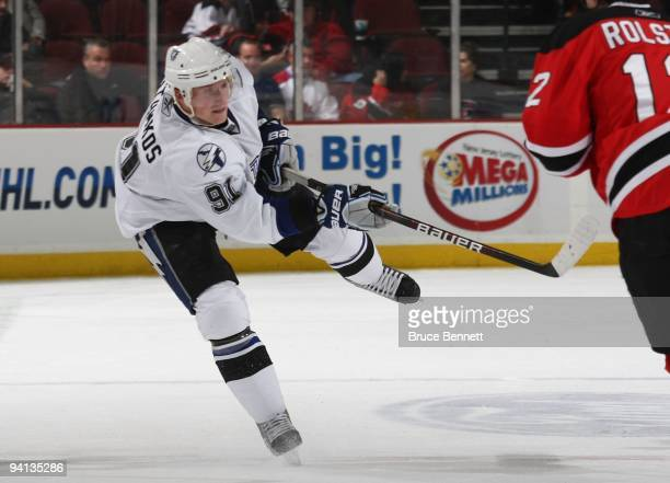 Steven Stamkos of the Tampa Bay Lightning skates against the New Jersey Devils at the Prudential Center on December 4 2009 in Newark New Jersey