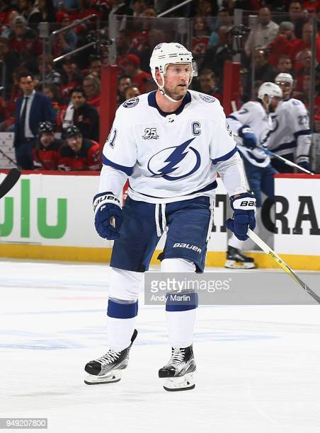 Steven Stamkos of the Tampa Bay Lightning skates against the New Jersey Devils in Game Four of the Eastern Conference First Round during the 2018 NHL...