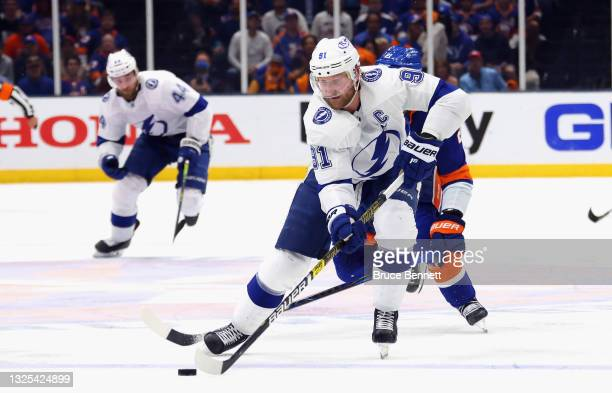Steven Stamkos of the Tampa Bay Lightning skates against the New York Islanders in Game Six of the NHL Stanley Cup Semifinals during the 2021 NHL...