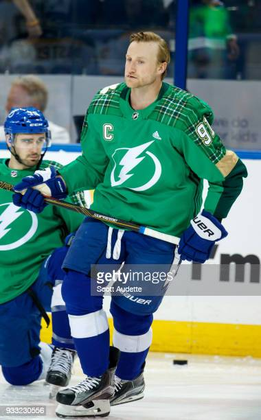 30d688bf7 Steven Stamkos of the Tampa Bay Lightning sports a green warmup jersey for St  Patrick's Day