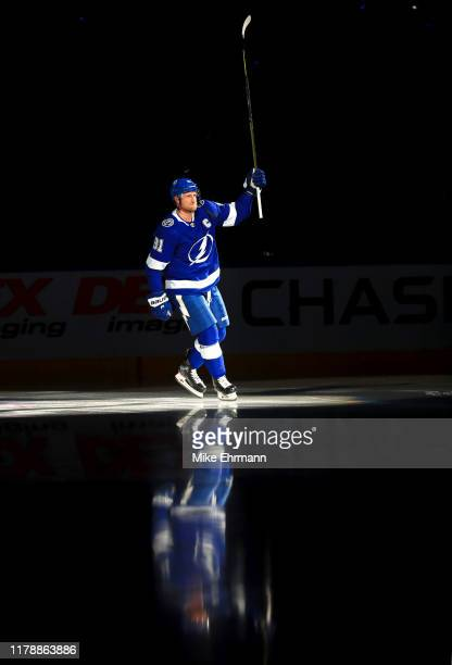 Steven Stamkos of the Tampa Bay Lightning takes the ice during the home opener against the Florida Panthers at Amalie Arena on October 03 2019 in...