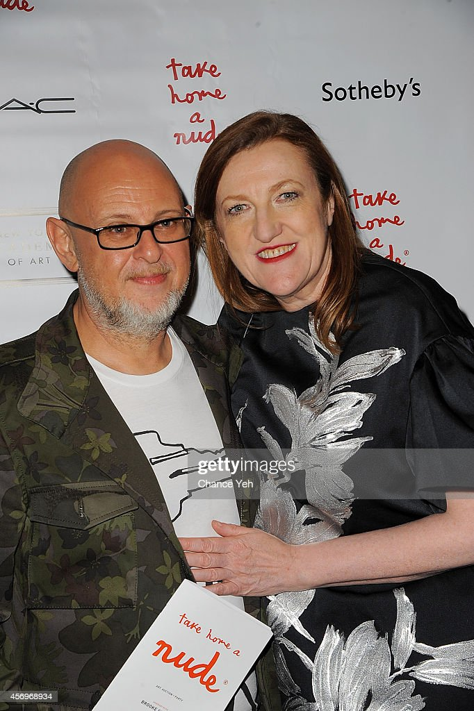 Steven Sumner and Glenda Bailey attends 2014 Take Home A Nude Event at Sotheby's on October 9, 2014 in New York City.